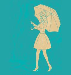 Pretty girl with umbrella vector