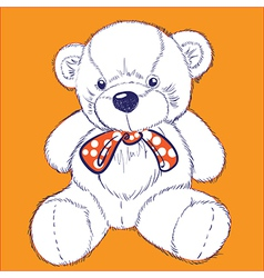 Retro bear on orange background with bow vector image