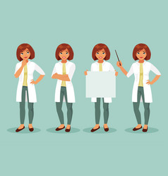 set of woman doctor vector image vector image