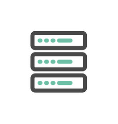 Simple icon of server flat bicolor line design vector