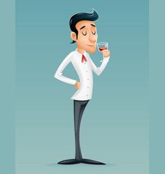sommelier cartoon gentleman savor drink glass vector image vector image