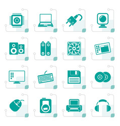 Stylized computer items and accessories icons vector