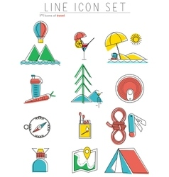 Travel line icons set outdoor equipment camping vector