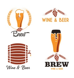 Wine and beer vintage labels set vector
