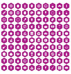 100 nutrition icons hexagon violet vector image vector image