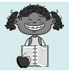Cartoon girl notebook icon vector