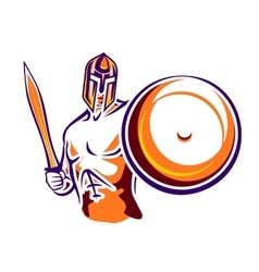 Spartan warrior with a sword and a shield vector image
