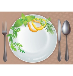 Tableware healthy food vector