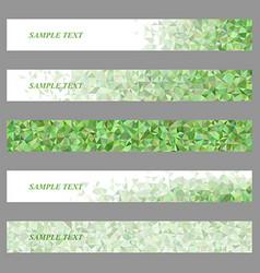 Green triangle mosaic web banner design set vector image