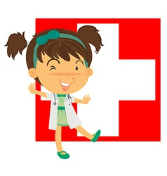 A nurse in front of the Switzerland flag vector image