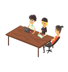 Three guys doing different work at one table vector