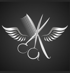 Scissors and comb with wings silhouette vector