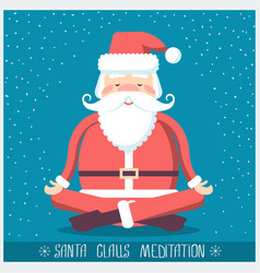 Santa claus doing yoga meditation christmas vector