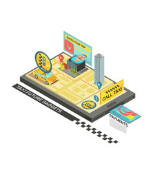 Call taxi by gadget isometric design vector