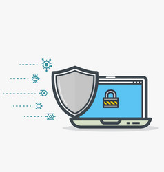 Laptop shield protection vector