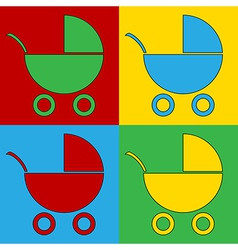Pop art pram icons vector