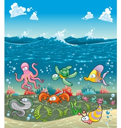 Family of marine animals under the sea vector