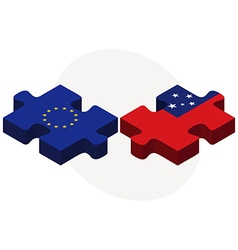 European union and samoa flags in puzzle vector