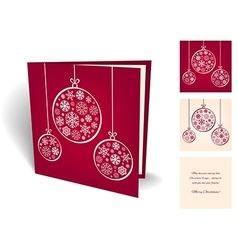 Red christmas greeting card with balls from vector image