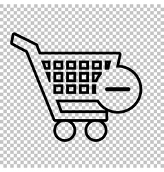 Shopping remove from cart icon vector