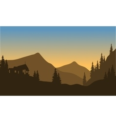 Silhouette of the mountain from below vector