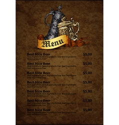 Menu design with beer vector