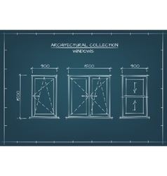 Architectural drawing of windows vector