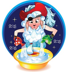 Aquarius funny as lamb hat vector image