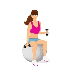 Beautiful woman exercising with two dumbbell vector image vector image