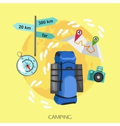 Camping tourism background flat style design vector