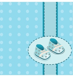card for baby boy shoes vector image