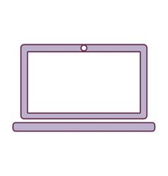Contour laptop computer in light purple color vector