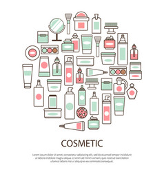 Cosmetic collection with text vector