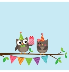 Couple of owls card vector image vector image