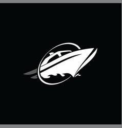 Cruise ship logo logotype vector