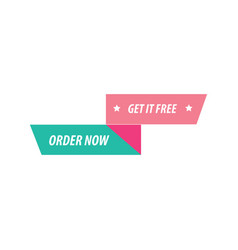 Design ribbon and label pink and green vector