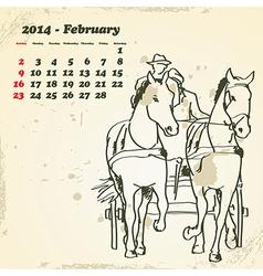 February 2014 hand drawn horse calendar vector image vector image