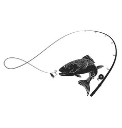 fish and fishing rod silhouette vector image vector image