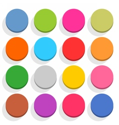 Flat blank web button round icon set with shadow vector image