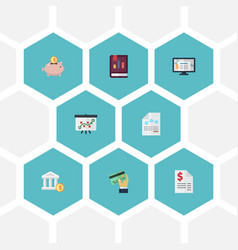 Flat icons card paper moneybox and other vector