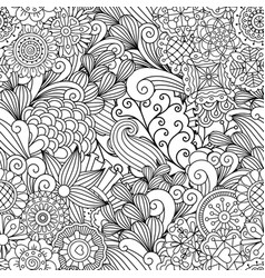 Floral black and white decorative pattern vector