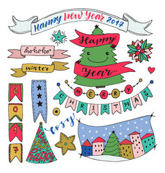 hand drawn new year collection with ribbons and vector image