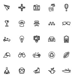 Hipster line icons on white background vector