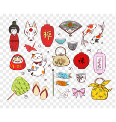 Japan colored doodle sketch elements symbols of vector