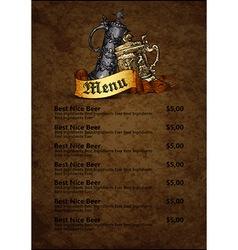 menu design with beer vector image