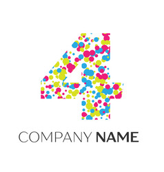 Number four logo with blue yellow red particles vector