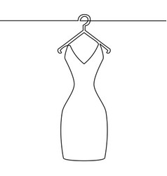 one line drawing woman dress on hange vector image vector image