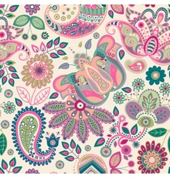 Paisley floral seamless pattern vector image vector image