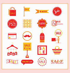 Red and orange sale and shopping icons set vector