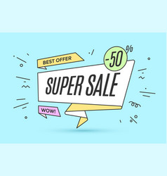 ribbon banner with text super sale vector image
